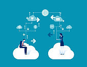 Business team communication. Concept business vector illustration, Contact, Online marketing, Globe Communication.