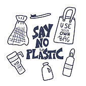 Plastic free vector concept with text and symbols.