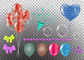 Realistic balloons set. 3d balloon different colors, isolated on  background. Vector illustration, clip art
