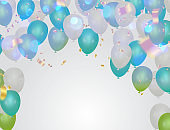 Balloons confetti and streamers background bokeh Party