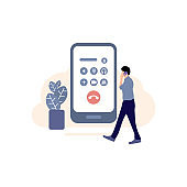 calling icon, Incoming outgoing call vector, smart phone in hand Illustration, Using Phone, Mobile Phone, Telephone