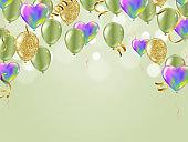 birthday card with green balloons. Happy birthday