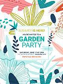Summer Party Invite template botanical vector design frame