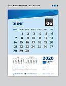 JUNE 2020 Month template, Desk Calendar for 2020 year, week start on sunday, planner, stationery, Blue Concept, vertical layout vector, business printing design