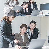 Business scene of several women. Collage photography.