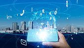 Mobile communication network concept.
