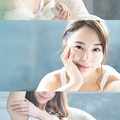Beauty concept of an asian woman. Collage photography.