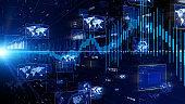 Statistics concept. Artificial intelligence. Communication network.