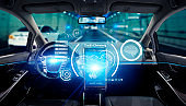 Interior of autonomous car. Driverless vehicle. Self driving. UGV.