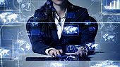 System engineering concept. GUI (Graphical User Interface). Woman engineer.