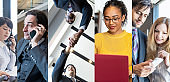 Business scene. Business network concept. Collage photography.