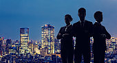Group of businessperson and modern cityscape. Teamwork of business concept.