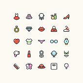 Lady Beauty Fashion Line Icons