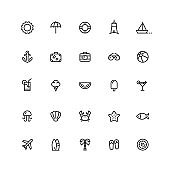 Summer & Travel Outline Icons