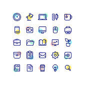 Flat Office Outline Icons