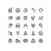Outline Christmas Holiday Icons