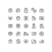 Gift Box Outline Icons