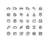 Engine & Road Outline Line Icons