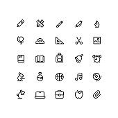 Education School Outline Icons