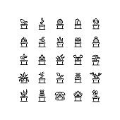 Plant In Pot Outline Icons