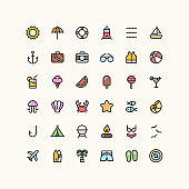 Summer & Travel Flat Outline Icons