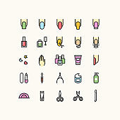 Nail Polish Manicure Outline Icons