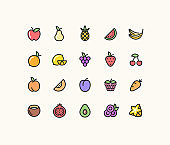 Juicy Fruit Outline Icons