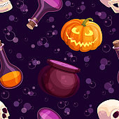 Halloween party seamless pattern with cauldron boiling the potion, pumpkin, skull and poison bottles