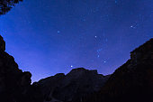 Night sky with stars at Dolomites mountains