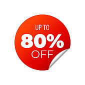 Red Vector Banner Sticker on white background, up to 80 percent off