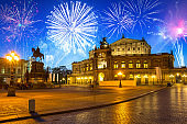 New Years firework display over the Dresden, Germany