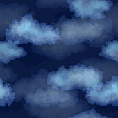Seamless dark blue night sky pattern with watercolor clouds