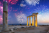 Fireworks display over the temple of Apollo in Side