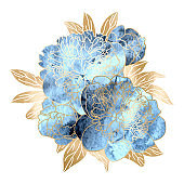 Floral hand drawn floral background blue watercolor and gold peony flowers