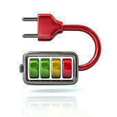 Red battery energy charger with plug icon