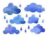 Watercolor set of clouds and rain drops isolated on white background