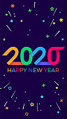 2020 Happy New Year. Paper  geometric bright style for holidays flyers, greetings, invitations, Happy New Year or Merry Christmas cards. Holiday background, poster, banner. Vector Illustration.