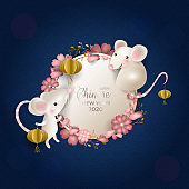 Happy Chinese New Year 2020. Rats on white round signboard. White mouses, golden lanterns, pink flowers, petals, blue background. For greeting card, invitation, poster, banner. Vector illustration.