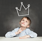 Boy dreams of becoming head of state. Leadership and Success Concept