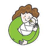 Vector illustration of a young mother hugging a newborn child. Joy of the motherhood concept in a circle composition.
