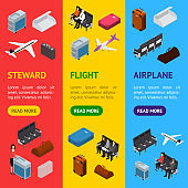 Airplane Interior Elements with People Banner Vecrtical Set Isometric View. Vector