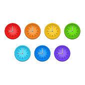 Realistic Detailed 3d Classic Clocks Wall Color Set. Vector