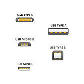 Realistic Detailed 3d USB Types Set with Inscription. Vector
