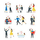 Cartoon Characters People Couples in Love Set. Vector