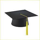 Realistic Detailed 3d Black Graduation Cap. Vector