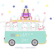 The cute rabbit baby to travel on holiday. cartoon sketch animal style