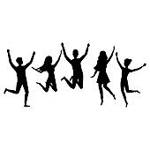 Cartoon Silhouette Black Color Characters Group of People Jumping Set. Vector