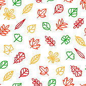 Leaf Signs Thin Line Seamless Pattern Background. Vector