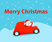 Gift card Merry Christmas. Vector Santa Claus drive car red color in snowy winter and delivery gifts. happy New Year funny illustration.