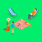 Families Spending Free Time 3d Isometric View. Vector